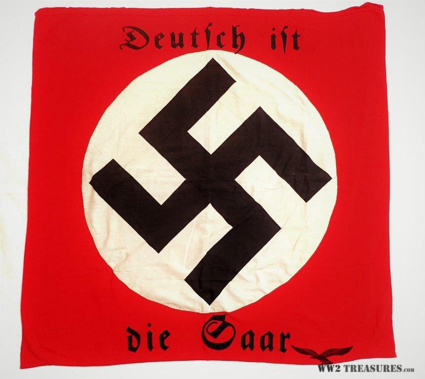 Rare Third Reich Wall Banner/Flag - Saar is German #156